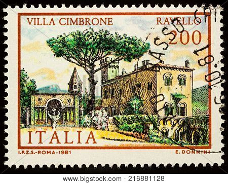 Moscow Russia - December 05 2017: A stamp printed in Italy shows Villa Cimbrone in Ravello series