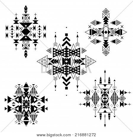 Vector Tribal ethnic ornament. Aztec decor elements . Tribal elements design isolated on a white background. Flat decor elements. Perfect for your design banners posters cards backgrounds.