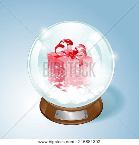 Christmas Snow globe with the gift and the falling snow. EPS10 vector.