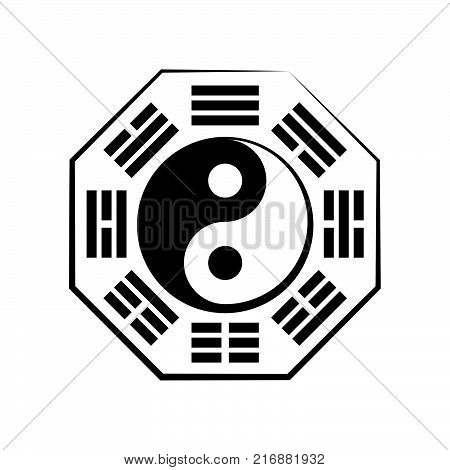 Yin-Yang and Bā-guà (8 trigrams). Chinese Cosmic Symbol of the duality and the unity of opposites, surrounded by hieroglyphs of the eight essential elements of Nature.