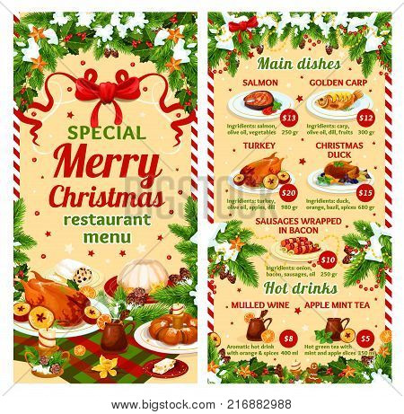 Merry Christmas dinner restaurant menu template of winter holidays main meat and fish dishes. Vector price for roasted chicken turkey or duck, golden carp or salmon and bacon sausages or mulled wine