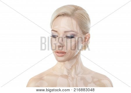 Close-up portraits blonde girl
