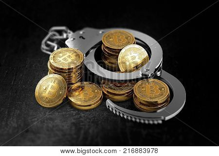 Bitcoin in handcuffs as banks wants to prohibit BTC concept. 3D rendering