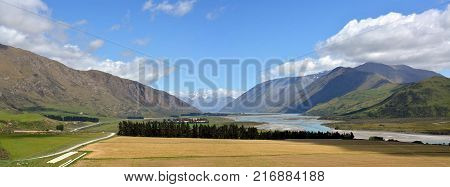 Head Waters of the Rangitata River and Mesopotamia Station Panorama New Zealand
