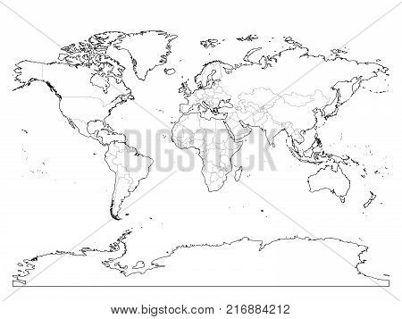World map outline. Thin country borders and thick land contour on white background. Simple high detail line vector wireframe.