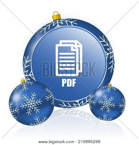 Pdf blue christmas balls icon ,