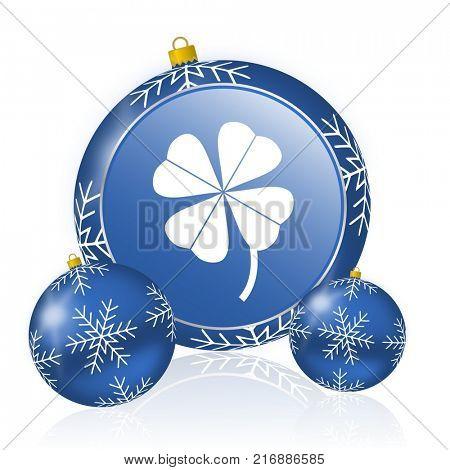 Four-leaf clover blue christmas balls icon