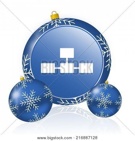 Database blue christmas balls icon