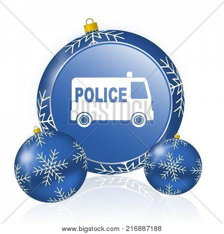 Police blue christmas balls icon