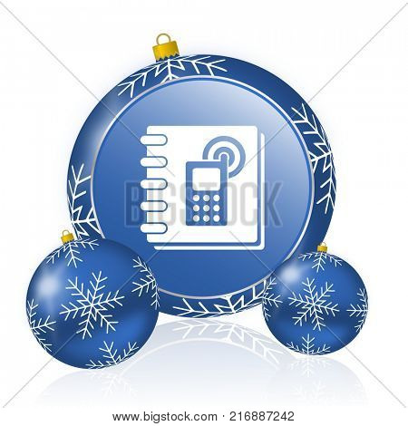 Phonebook blue christmas balls icon