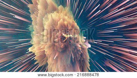Nebula Space Explosion With Light Point. 3D Illustration.