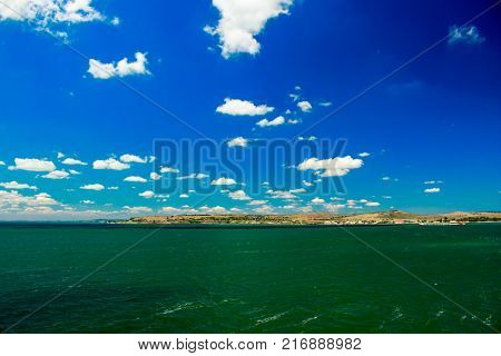 Russia Crimea Kerch Strait July 23 2016: seascape from the port of the Caucasus to the port of Crimea