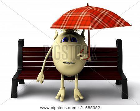 Puppet Hide Itself Under Umbrella From Rain