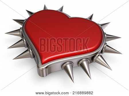 heart symbol with prickles on white background - 3d rendering