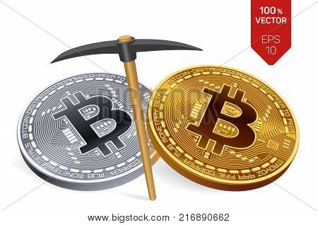 Bitcoin mining concept. 3D isometric Physical bit coin with pickaxe. Digital currency. Cryptocurrency. Golden and silver coins with bitcoin symbol isolated on white background. Vector illustration