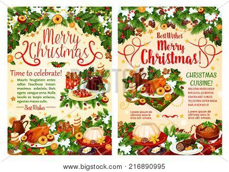 Christmas dinner festive dishes greeting banner of winter holidays. Turkey, cake and cookie, wine, sweet bread and pudding on table, decorated with Xmas tree and holly garland, snow, star and candle