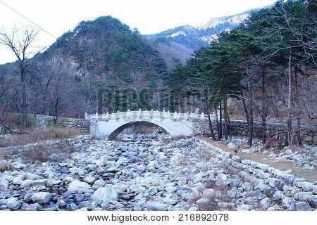 Bridge in spring at Seoraksan national park