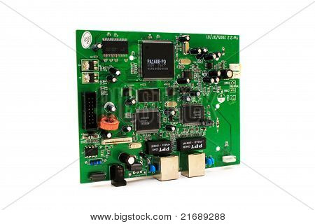 Computer Circuit Board Placed On White Background