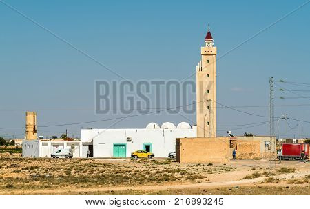 Typical mosque in the Tunisian countryside at Skhira. North Africa