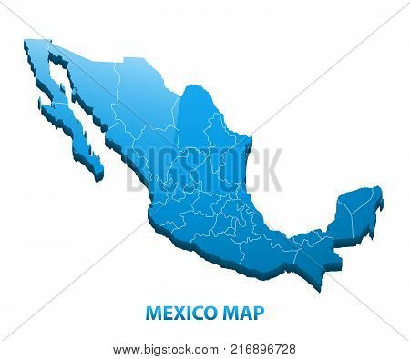 Highly detailed three dimensional map of Mexico with regions border