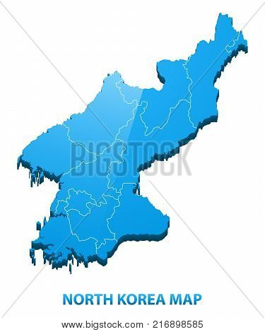 Highly detailed three dimensional map of North Korea with regions border