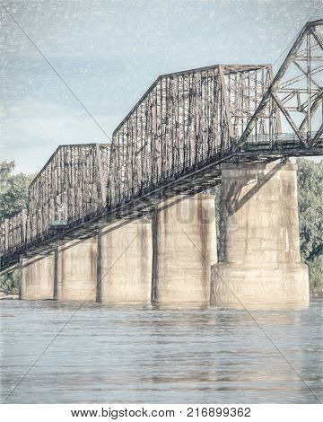 The Old Chain of Rocks bridge on the Mississippi River near St Louis, a photo with  digital pinting filter applied