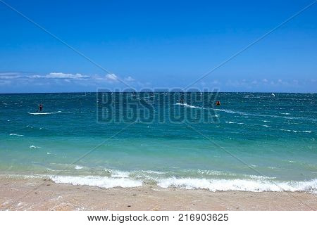 Popular area for wind surfing kite surfing and stand up paddle boarding