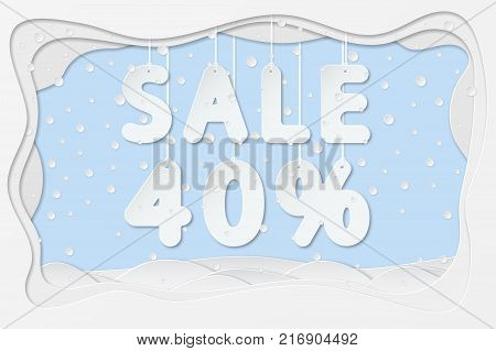 vector illustration of sale 40 percent lettering hanging on rope as layered paper cutting art design