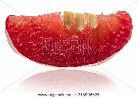 Closeup view of red pomelo pulp with seeds isolated on white background. Thailand Siam ruby pomelo fruit. Natural source of vitamin C (antioxidants) and potassium. Healthy food for slow down aging