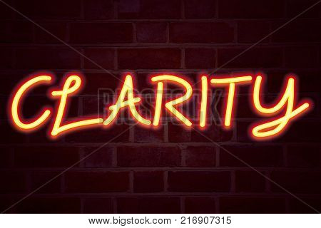 Clarity neon sign on brick wall background. Fluorescent Neon tube Sign on brickwork Business concept for Clarity Message 3D rendered Front View