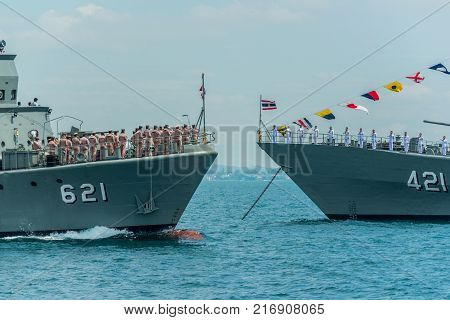 Pattaya Thailand - November 9 2017 Navals in activity of fleet review on warship running on sea on the 50th anniversary ASEAN international fleet review 2017 drill in Pattaya Thailand