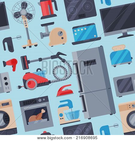 Home appliances domestic vector household equipment kitchen electrical domestic appliances technology for home work vector illustration.