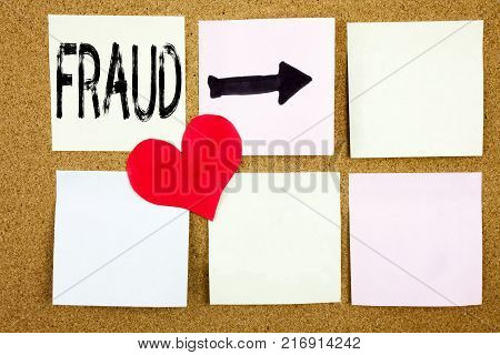 Conceptual hand writing text caption inspiration showing Fraud concept for Fraud Crime Business Scam and Love written on wooden background, reminder  background with space