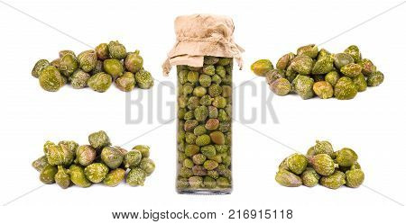 Collections of capers isolated on white background. Pickled capers. Canned capers.