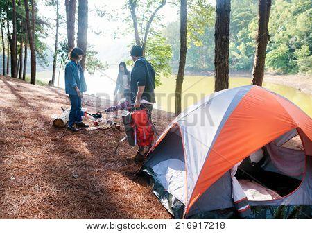 Friends at a campsite