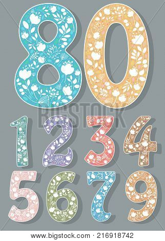 Set of Colorful Numbers with White Floral Decor. Silhouettes of graceful flowers and plants. Illustration
