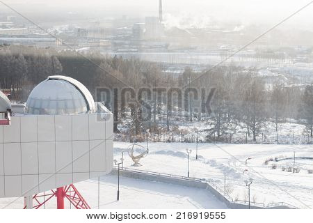 winter cityscape. DomeTrees, wood, track, snow, industrial pipes