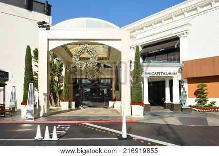 COSTA MESA CA - DEC 1 2017: Capital Grille South Coast Plaza. The upscale steakhouse chain offers classic American fare and a clubby refined setting.