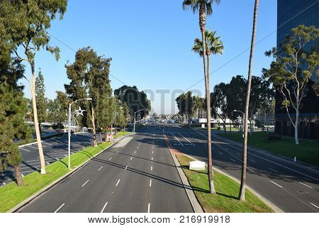 COSTA MESA CA - DEC 1 2017: Bristol Street seen from Unity Bridge that Connects South Coast Plaza and the Town Center area of Costa Mesa.