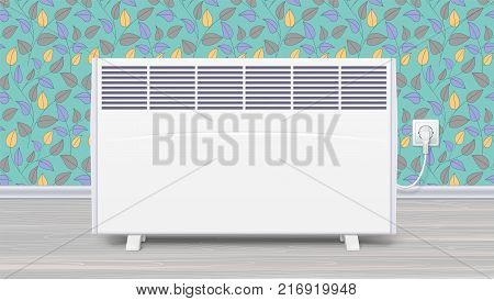 Electric panel of radiator appliance for space heating in the interior of room. Domestic electric heater with plug and electric cord. Icon of home convector, 3D illustration