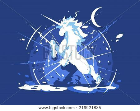 Brightly shining unicorn mythical beast. Animal horse with horn. Vector illustration
