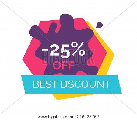 -25 off best discount, label depicting purple blot and blue ribbon, title sample written in centerpiece vector illustration isolated on white