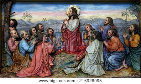 STITAR, CROATIA - NOVEMBER 11: Jesus and Apostles in the Mount of Olives, church of Saint Matthew in Stitar, Croatia on November 11, 2016.
