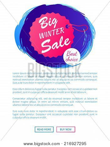 Big winter sale best choice hanging label on thread isolated on blue brush strokes vector illustration poster design with web online buttons