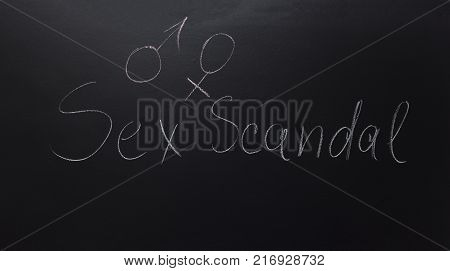 Symbol of a transgender with written on blackboard text: Sex Scandal