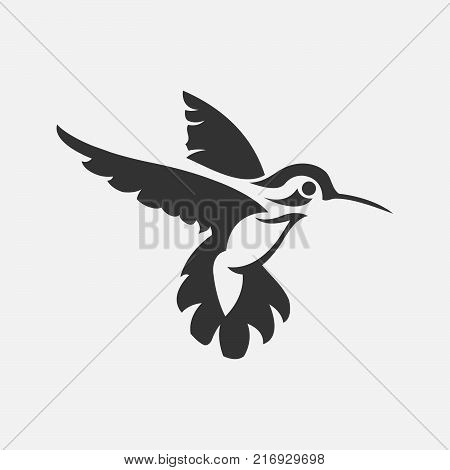 Colibri or humming bird icons. Vector isolated set of flying birds with spread flittering wings. Swallow, parrot or dove bird symbol of freedom and peace or interior decor design.eps 8.eps 10
