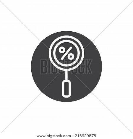 Magnifying glass with a percent icon vector, filled flat sign, solid pictogram isolated on white. Search the best discount sale symbol, logo illustration.