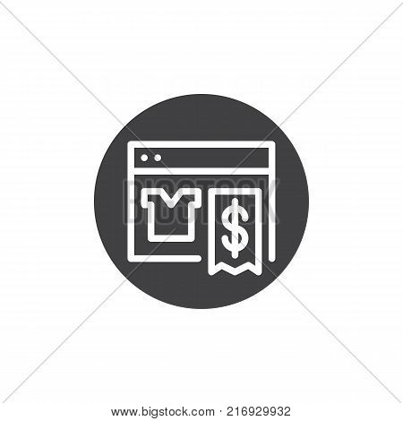 Online shopping with web browser icon vector, filled flat sign, solid pictogram isolated on white. Store shop web page symbol, logo illustration.