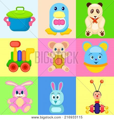 Toy saucepan, penguin in bowtie, panda bear, train car, koala bear, round mouse, pink bunny, funny rabbit and beetle xylophone vector illustrations.