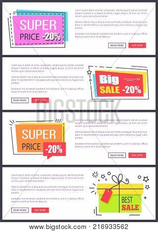 Super price -20 , big and best sale, collection of internet pages with text sample, titles in squares and buttons on vector illustration web banners